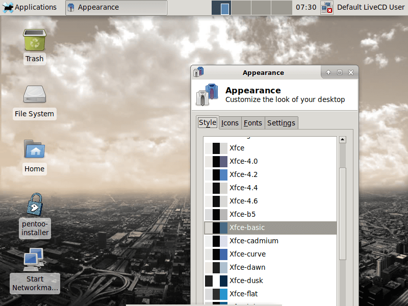 Pentoo  Linux Desktop Appearance