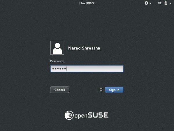 OpenSuse Login Screen
