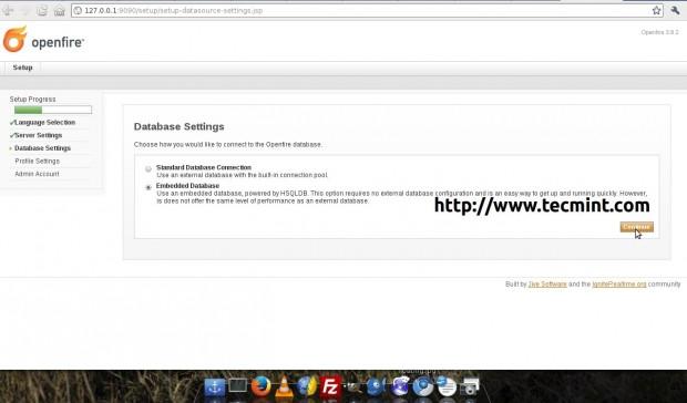 Openfire Database Settings
