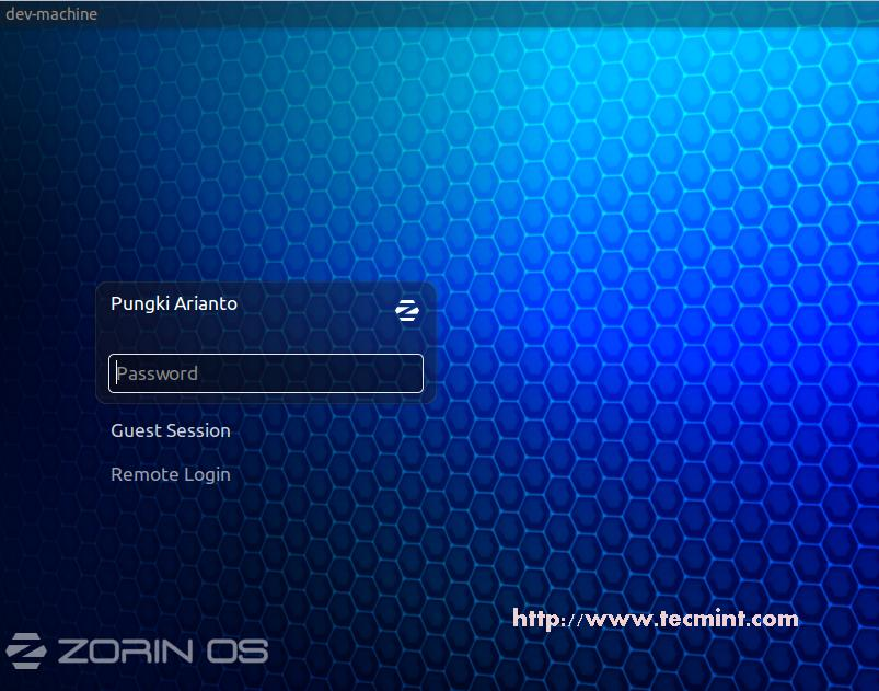 Zorin Login Screen