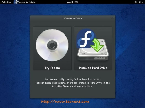 Fedora Live Installation Media