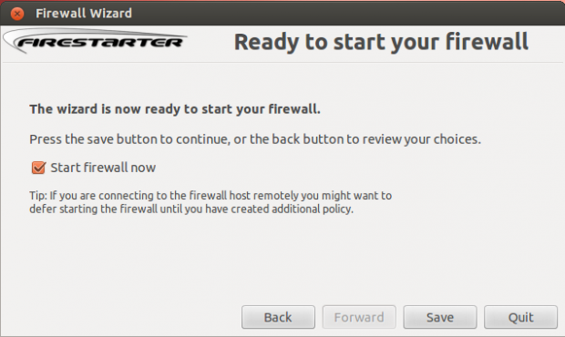 Start Firestarter Firewall