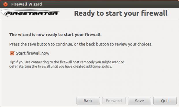 Start Firestarter Firewall