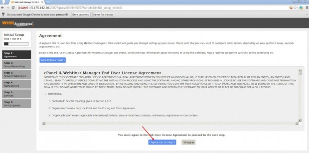Accept cPanel Agreement