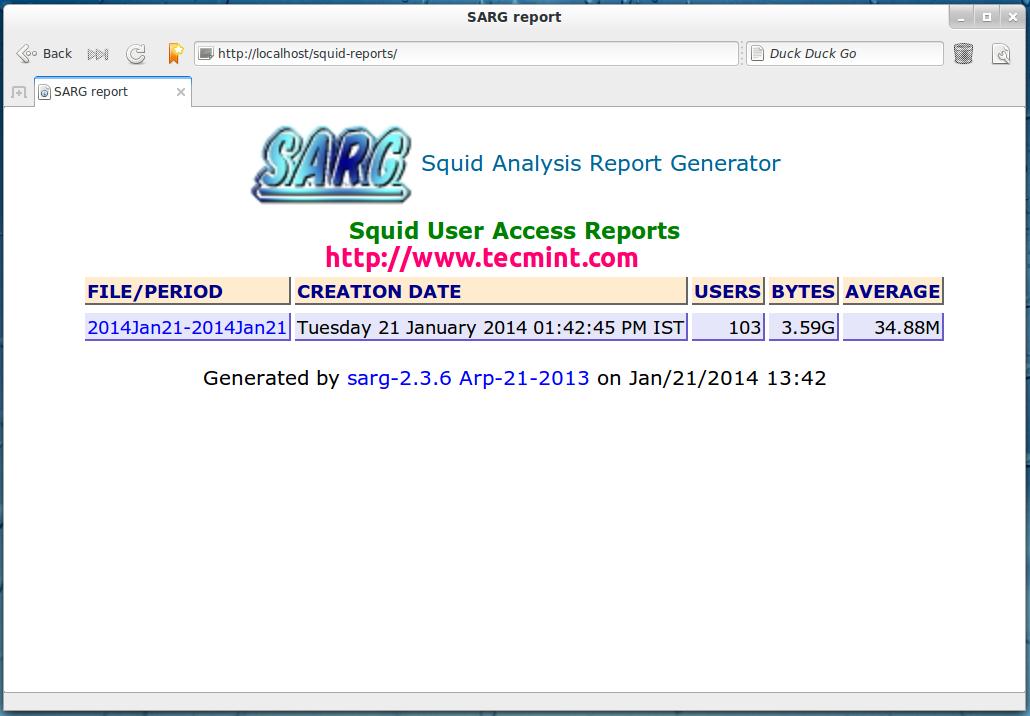 SARG - Squid Analysis Report Generator and Internet