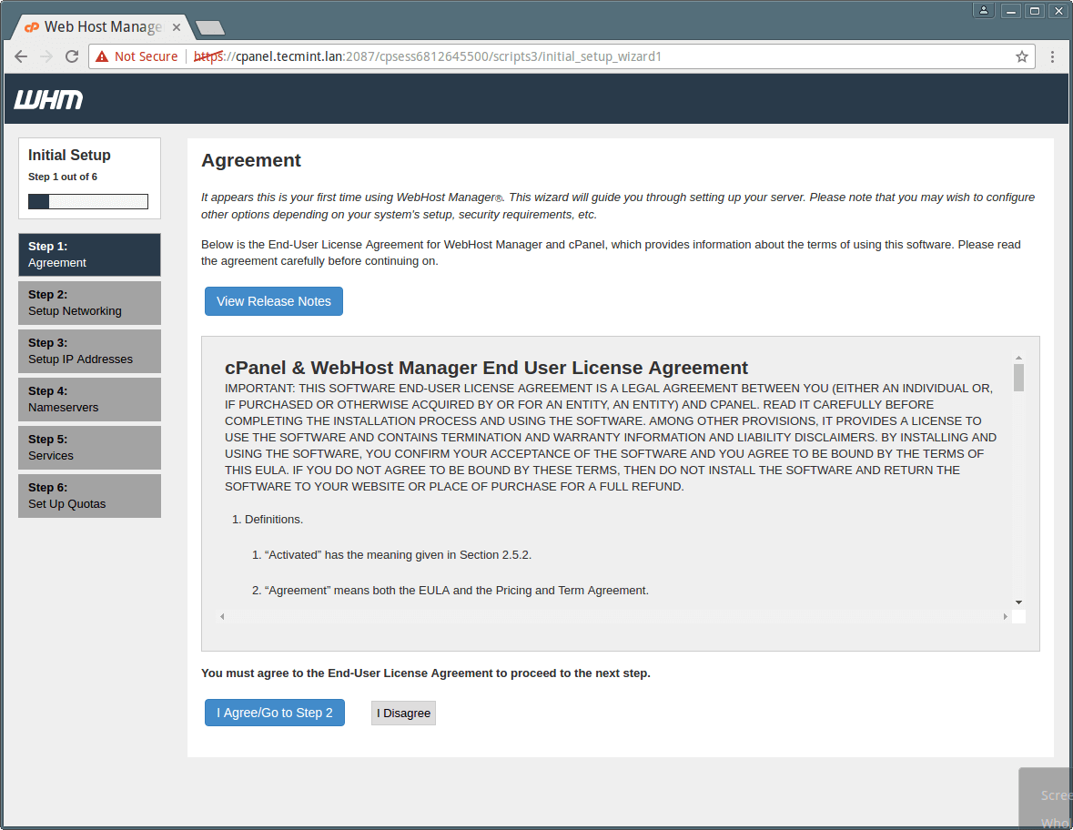 cPanel WHM Agreement