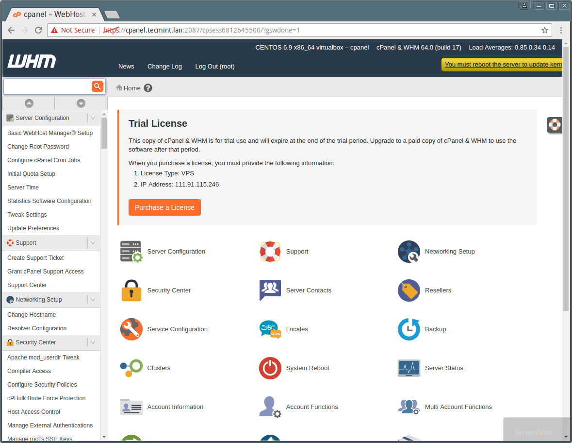 cPanel WHM Dashboard