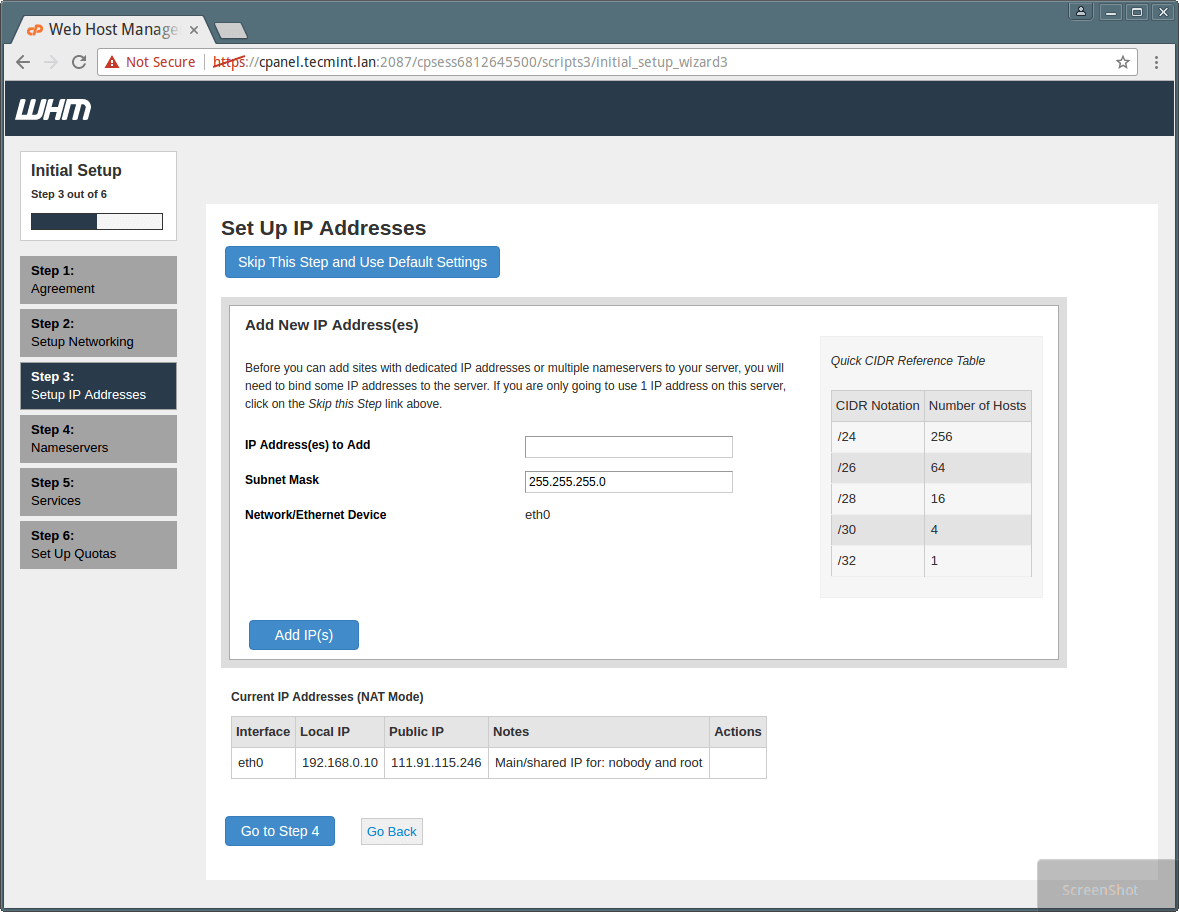 cPanel WHM IP Address Setup