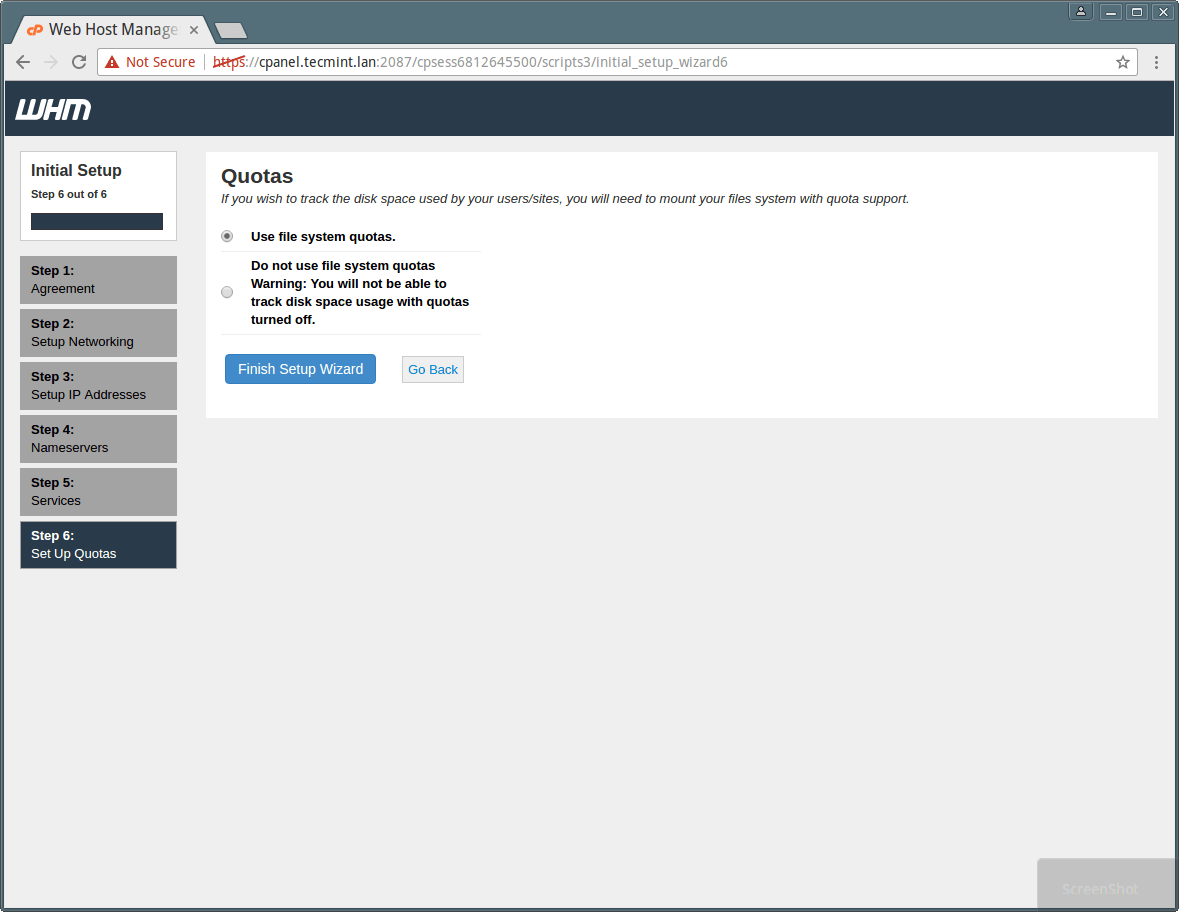 cPanel WHM System Quotas