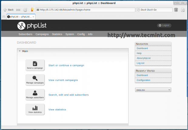 phpList Dashboard