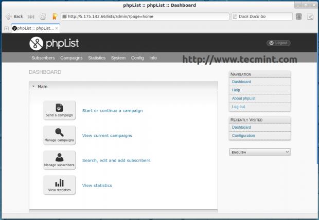 phpList Dashboard