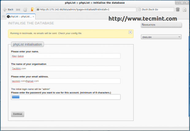 phpList Database Initialisation