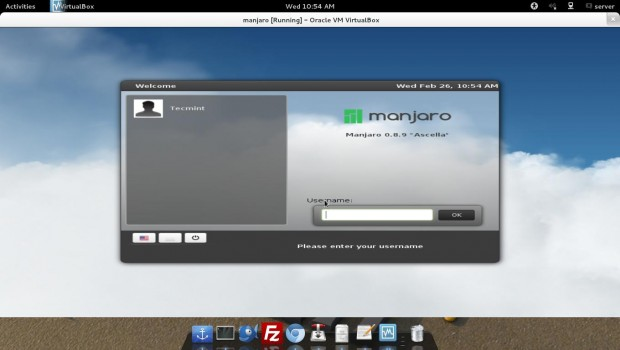 Manjaro Login Screen