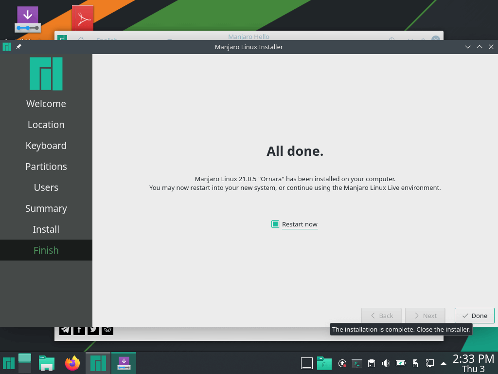 Manjaro Linux Installed