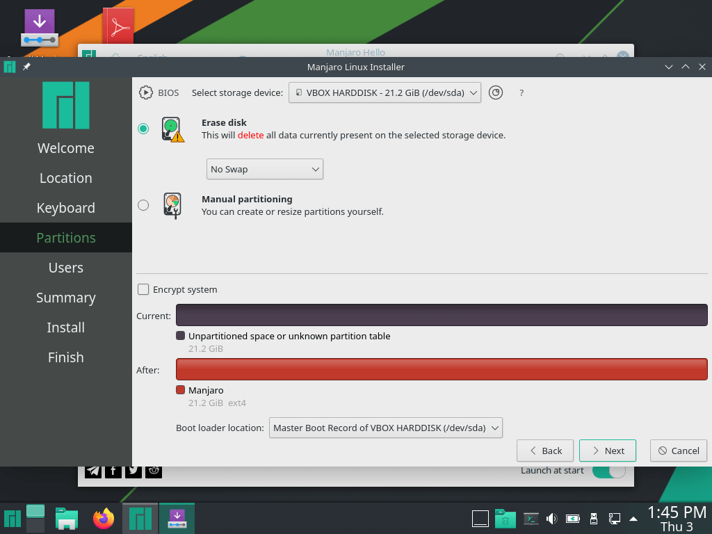 Manjaro Linux Partitions