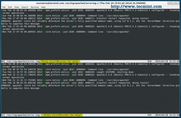 View Two Files in Linux