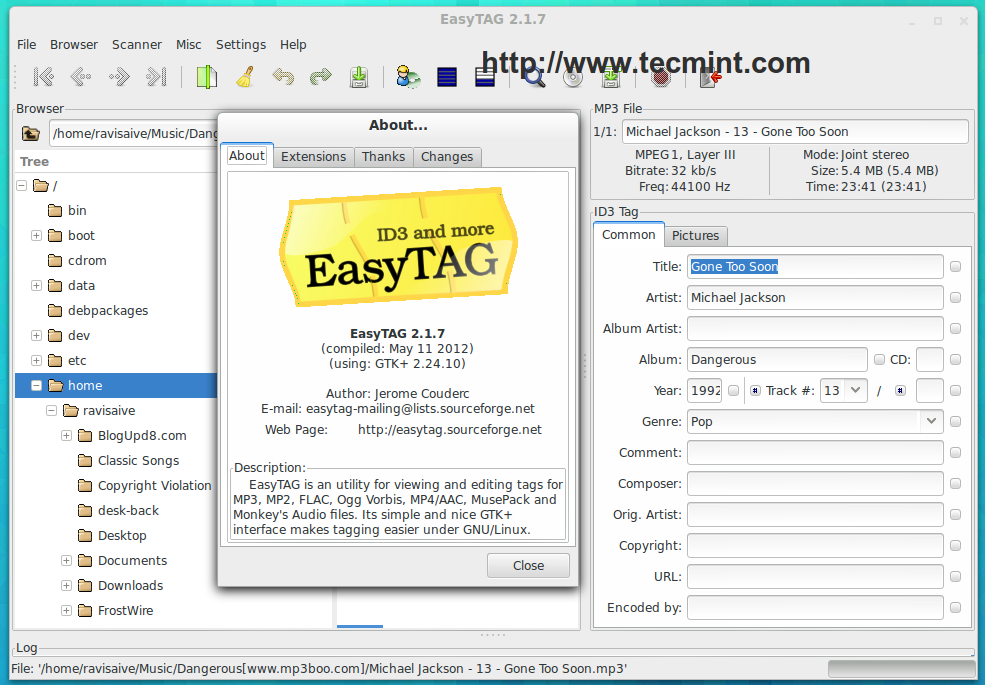 Install EasyTAG in Linux