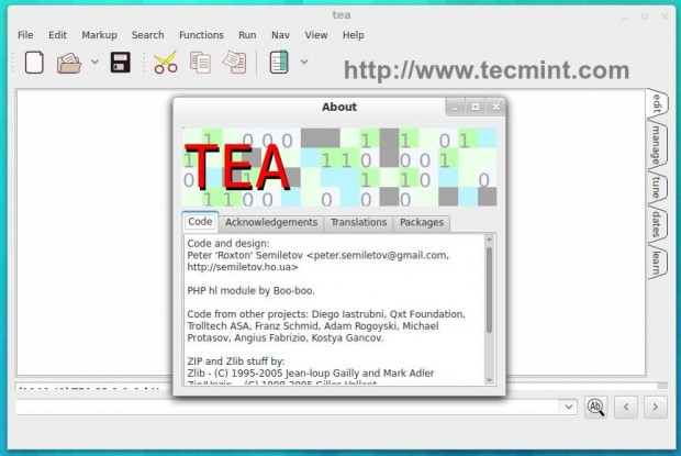 Tea Editor for Linux