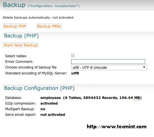 Select Backup PHP