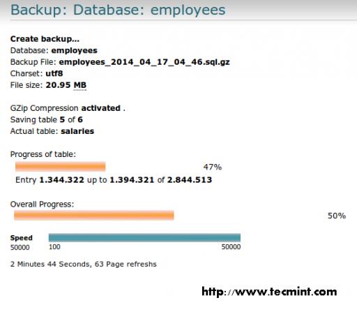 Database Backup Progress