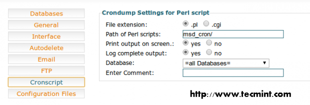 Crondump Settings