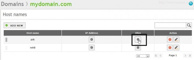 Select Domain Alias
