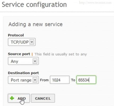 Enter Service Details