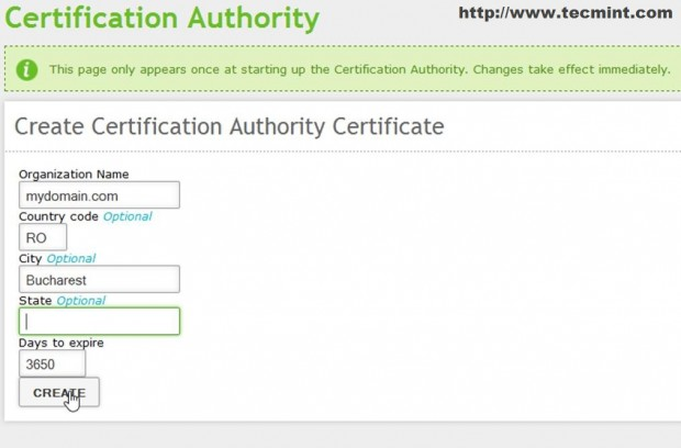Create New Certificate Authority
