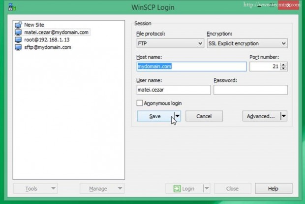 Access FTP Share via WinSCP
