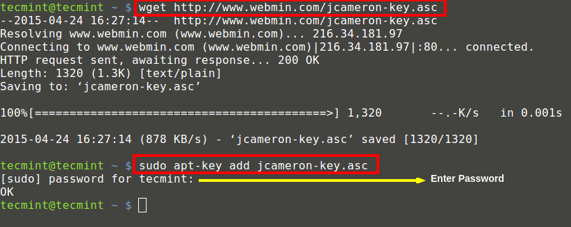 Add Webmin GPG Key on UbuntuAdd Webmin GPG Key on Ubuntu