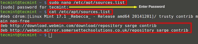 Add Webmin Repository on Ubuntu