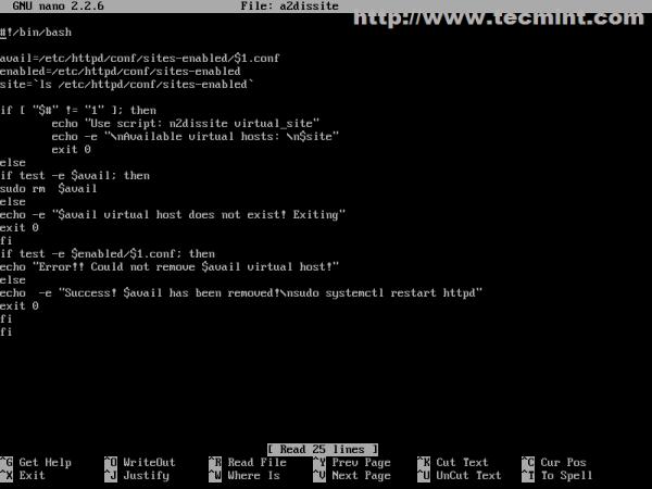 Create a2dissite Apache Script