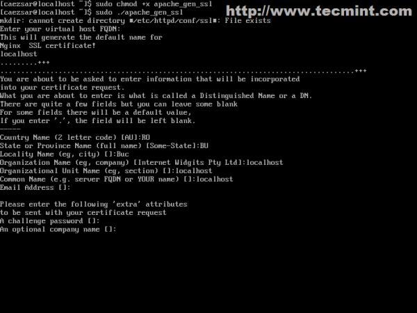 Create Apache Certificates and Keys
