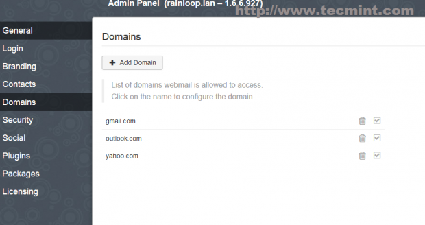 Default Mail Domains