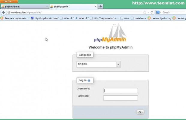 Access PhpMyAdmin Dashboard