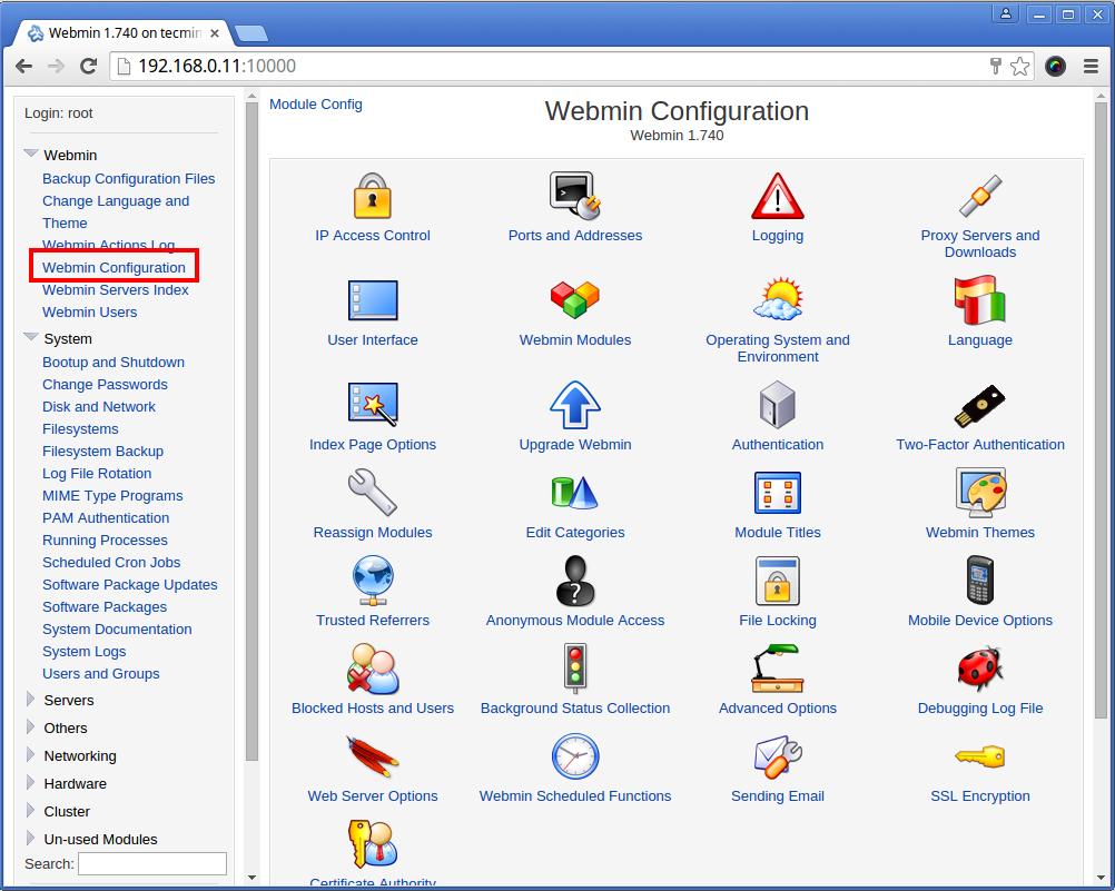 Webmin Configuration