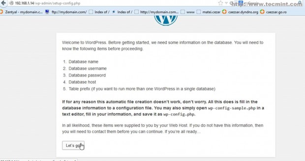 Proceed WordPress Installation