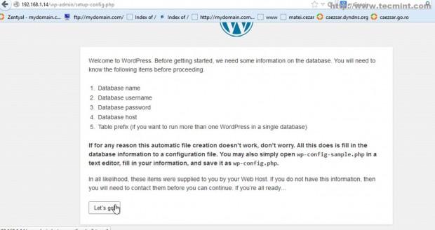 Proceed WordPress Installation