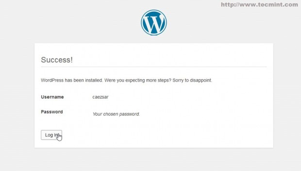 WordPress Installation Success