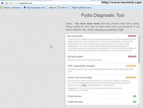 Access Pydio Tool