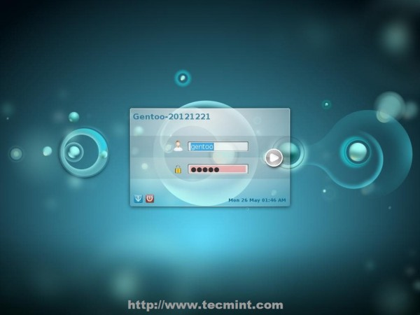 Gentoo Desktop Login Screen