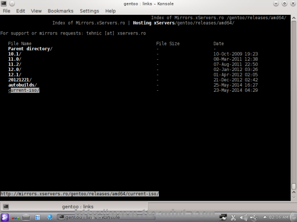 Select Current Gentoo ISO