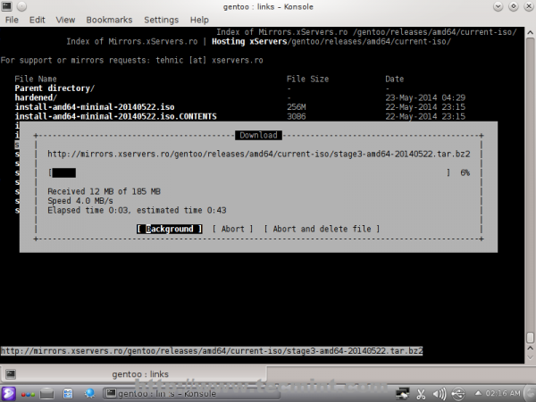 Downloading Gentoo Stage 3 Tarball
