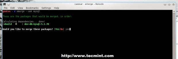 Install MySQL in Gentoo
