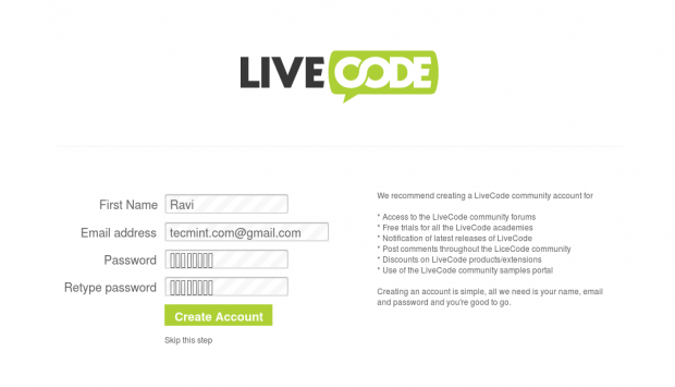 Create LiveCode Account