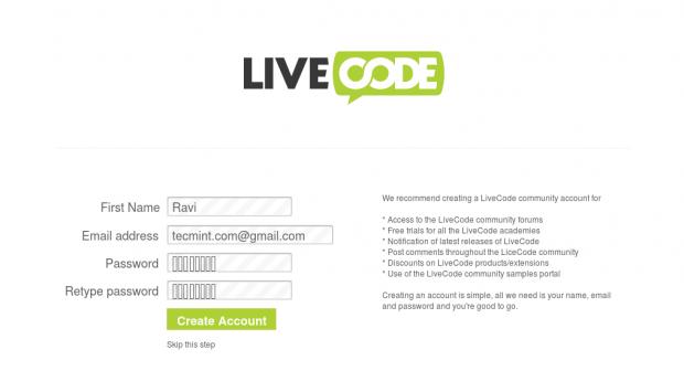Create LiveCode Account