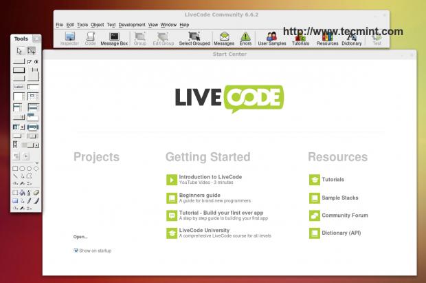LiveCode Start Center