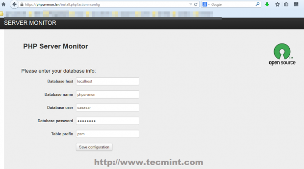 Enter MySQL Database Details