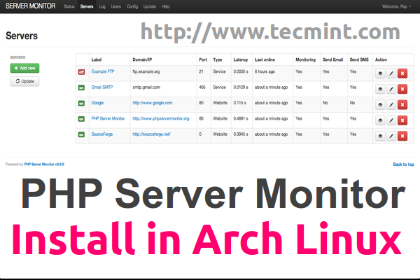 Install PHP Server Monitor in Arch Linux