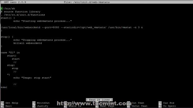 Create Web-Vmstat Init Script